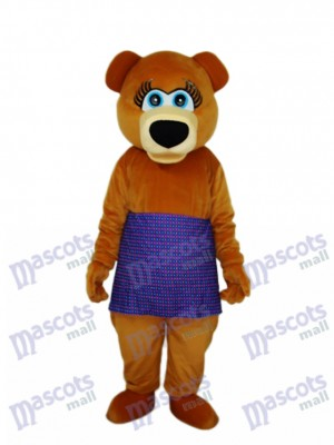 Brown Bear in Purple Skirt Mascot Adult Costume Animal
