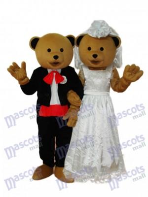 Wedding Bears Couple Mascot Adult Costume Animal