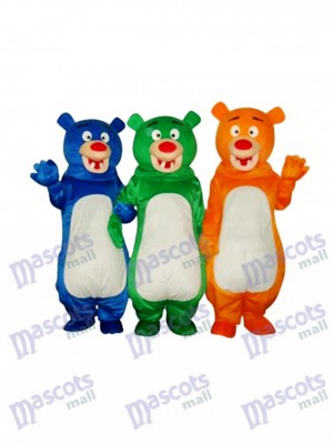 Blue & Green & Orange Bear Family (Three Bears) Mascot Costume Animal