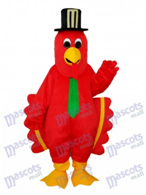 Red Bird with Black Hat Mascot Adult Costume Animal