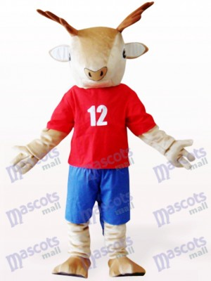 Brown Deer In Red Clothes Plush Mascot Costume
