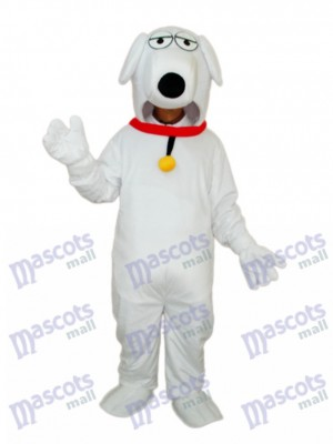 White Dog with Necklet Mascot Adult Costume Animal