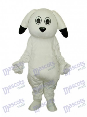 Black Ears White Dog Mascot Adult Costume Animal