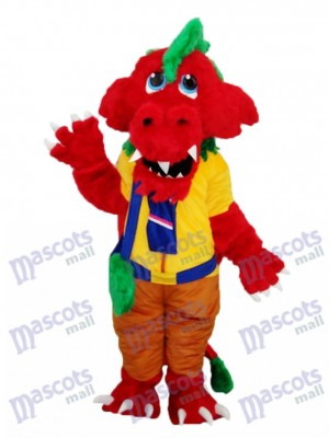 Red Dragon with Bag Plush Mascot Adult Costume Animal