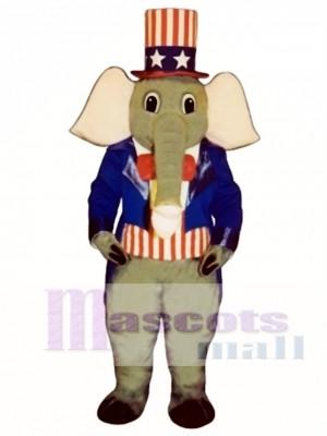 Cute Patriotic Elephant Mascot Costume Animal