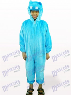 Blue Hippo Open Face Kids Mascot Costume