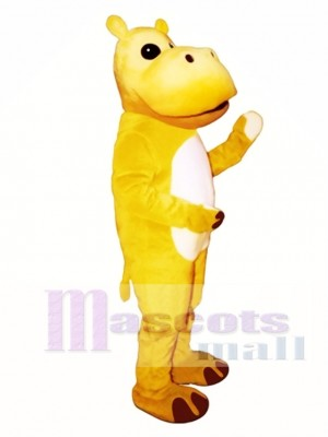 Cute Yellow Hippo Mascot Costume Animal