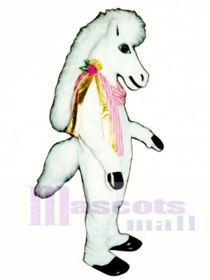 Cute Carousel Horse with Neck Ribbon Mascot Costume Animal