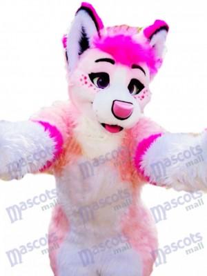 Pink Husky Dog Adult Mascot Costume Animal Cartoon