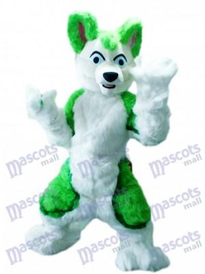 Green Husky Dog Adult Mascot Costume Animal Cartoon
