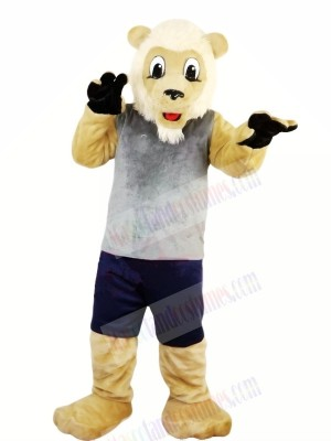 Lion with Grey Vest Mascot Costumes Adult