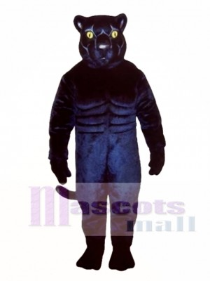 Muscled Black Panther Mascot Costume Animal