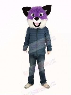 Purple Husky Dog Mascot Costume Head Only