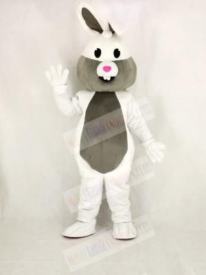 White and Grey Easter Bunny Rabbit Mascot Costume Cartoon
