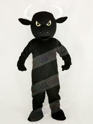 Fierce Black Bull Mascot Costume Cartoon
