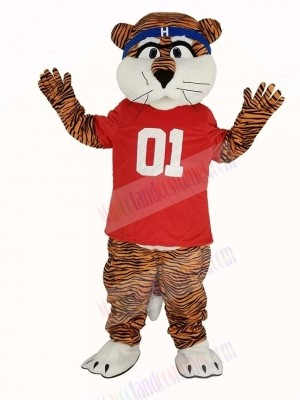 Auburn Tigers in Red T-shirt Mascot Costume