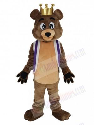 King Billy Bob Bear with Purple Vest Mascot Costume