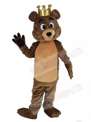 Brown King Billy Bob Bear Mascot Costume