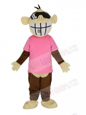 Brown Funny Monkey in Pink T-shirt Mascot Costume Animal