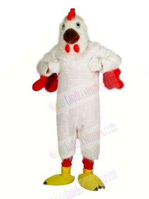 Strong White Chicken Mascot Costumes Cartoon