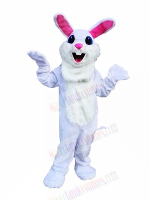 Cute White Easter Bunny Mascot Costumes Cartoon