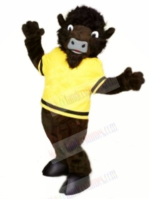 Wild Buffalo with Yellow T-shirt Mascot Costumes Cartoon