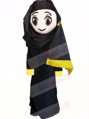 Cute Arab Girl in Black Mascot Costume Cartoon