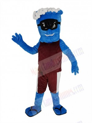 Blue Wave in Maroon vest Mascot Costume