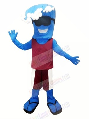 Funny Blue Wave Mascot Costume Cartoon