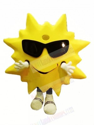 Cool Smiling Sun Mascot Costume Cartoon