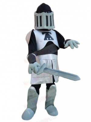 Silver and Black Knight with Sword Mascot Costume People