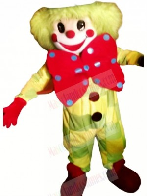 Clown With Big Bow Mascot Costume Cartoon