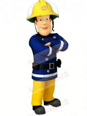Blue Eyed Fireman Mascot Costume Cartoon People