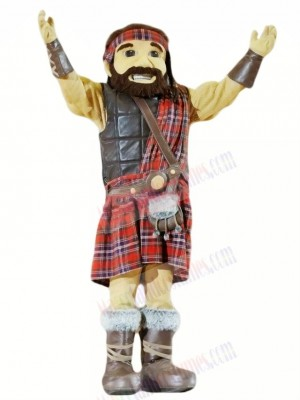 Happy Highlander With Kilt Mascot Costume Cartoon