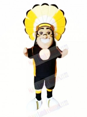 Indian With Yellow Headdress Mascot Costume People