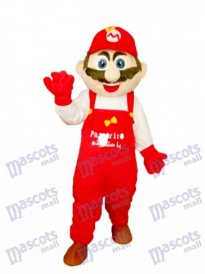 Mario with White Clothes Mascot Adult Costume Cartoon Anime