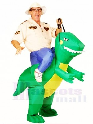 Green Dinosaur Carry me Ride On T-rex Inflatable Halloween Christmas Costumes for Adults
