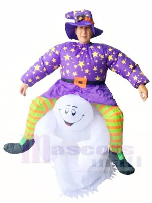 Devil Carry Me Rider on Ghost Scary Inflatable Halloween Christmas Costumes for Adults