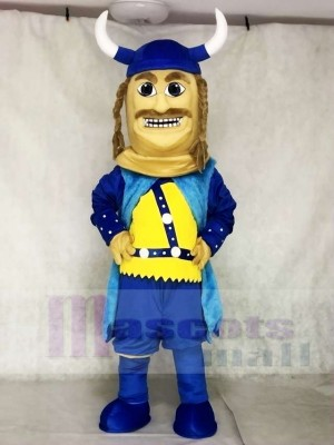 Blue Viking Mascot Costumes with Helmet and Black Cloak People