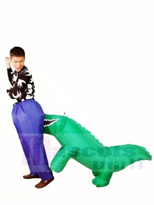 Carry Biting Alligator Crocodile Bites Inflatable Halloween Xmas Costumes for Adults
