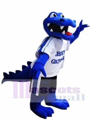 Cute Royal Blue Crocodile Mascot Costume Alligator Mascot Costumes with White Shirt Animal