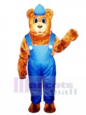 New Billy Bear with Overalls & Hat Mascot Costume Animal