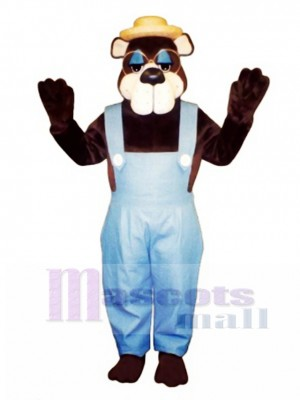 Cute Country Bear with Overall, Glasses & Hat Mascot Costume Animal