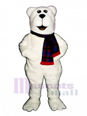 Arctic Bear with Scarf Christmas Mascot Costume Animal
