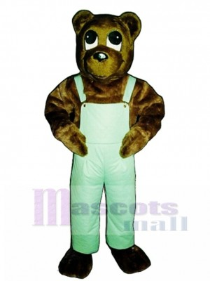 Cute Cutesy Bear with Bib Overalls Mascot Costume Animal