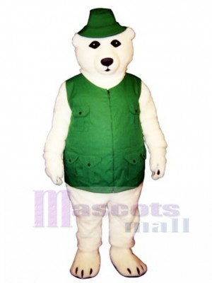 Fisher Bear with Vest & Hat Mascot Costume Animal