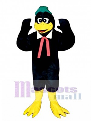 Cute Berry Black Bird with Collar, Hat & Tie Mascot Costume Bird