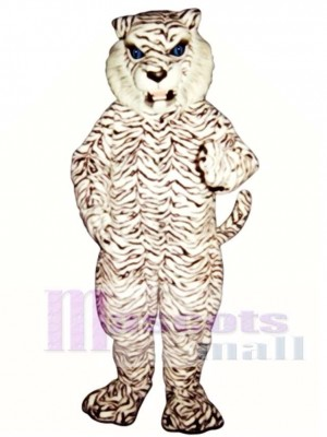 Cute Blue-Eyed White Tiger Mascot Costume Animal