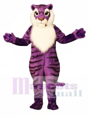 Cute Purple Tiger Mascot Costume Animal