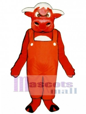 Angry Bull with Overalls Mascot Costume Animal